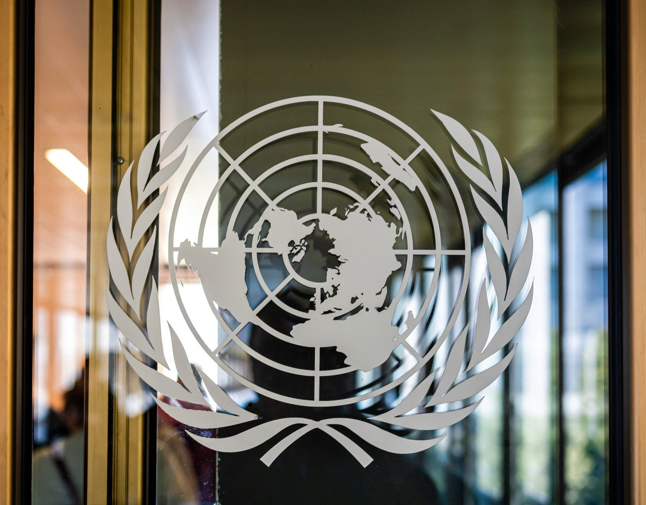 United Nations logo in Geneva office.
