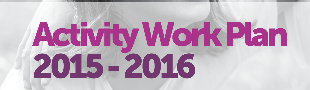 Pink and purple text against grey background: 'Activity Work Plan. 2015-2016.'