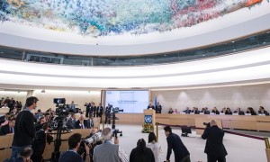 The UN human rights council listening to a speech by Palestinian president Mahmoud Abbas in October. The council has been assessing Australia's human right's record. Photograph: Xu Jinquan/Xinhua Press/Corbis