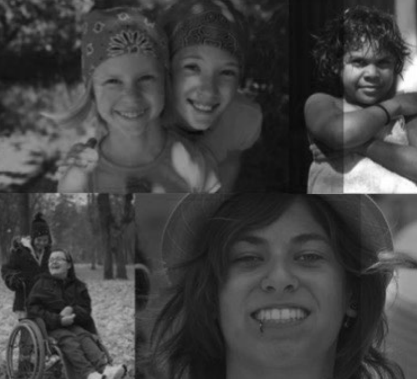 4x greyscale photos of young women with disability.