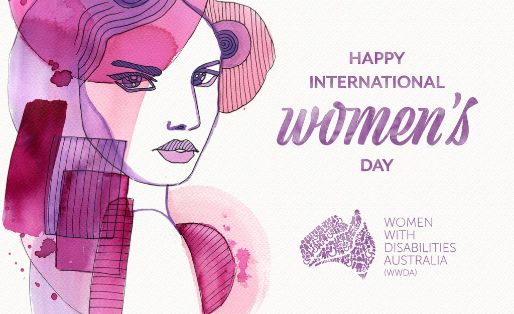 Pink illustration of a woman on the left with purple text on the right: 'Happy International Women's Day.'