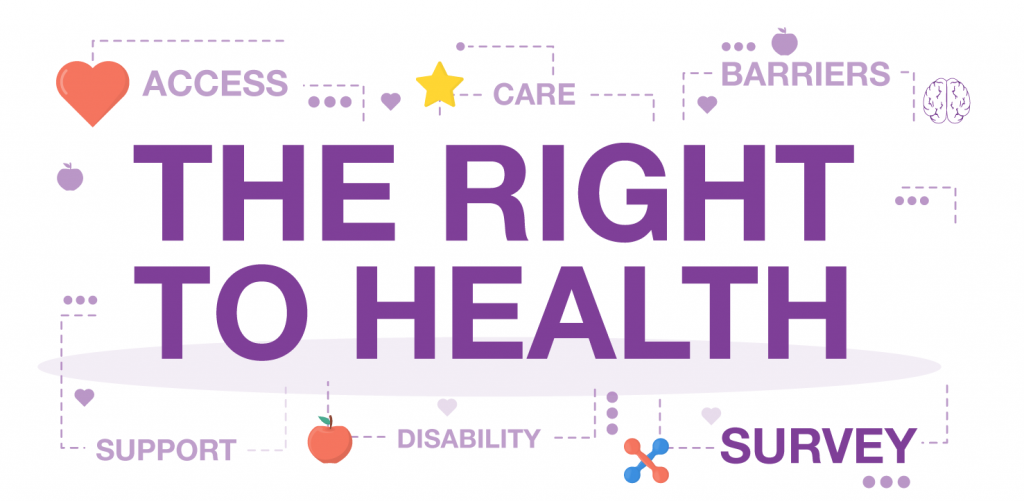 White image with purple text: 'The Right to Health. Survey.'