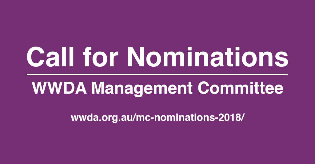 White text against purple background: 'Call for Nominations. WWDA Management Committee'