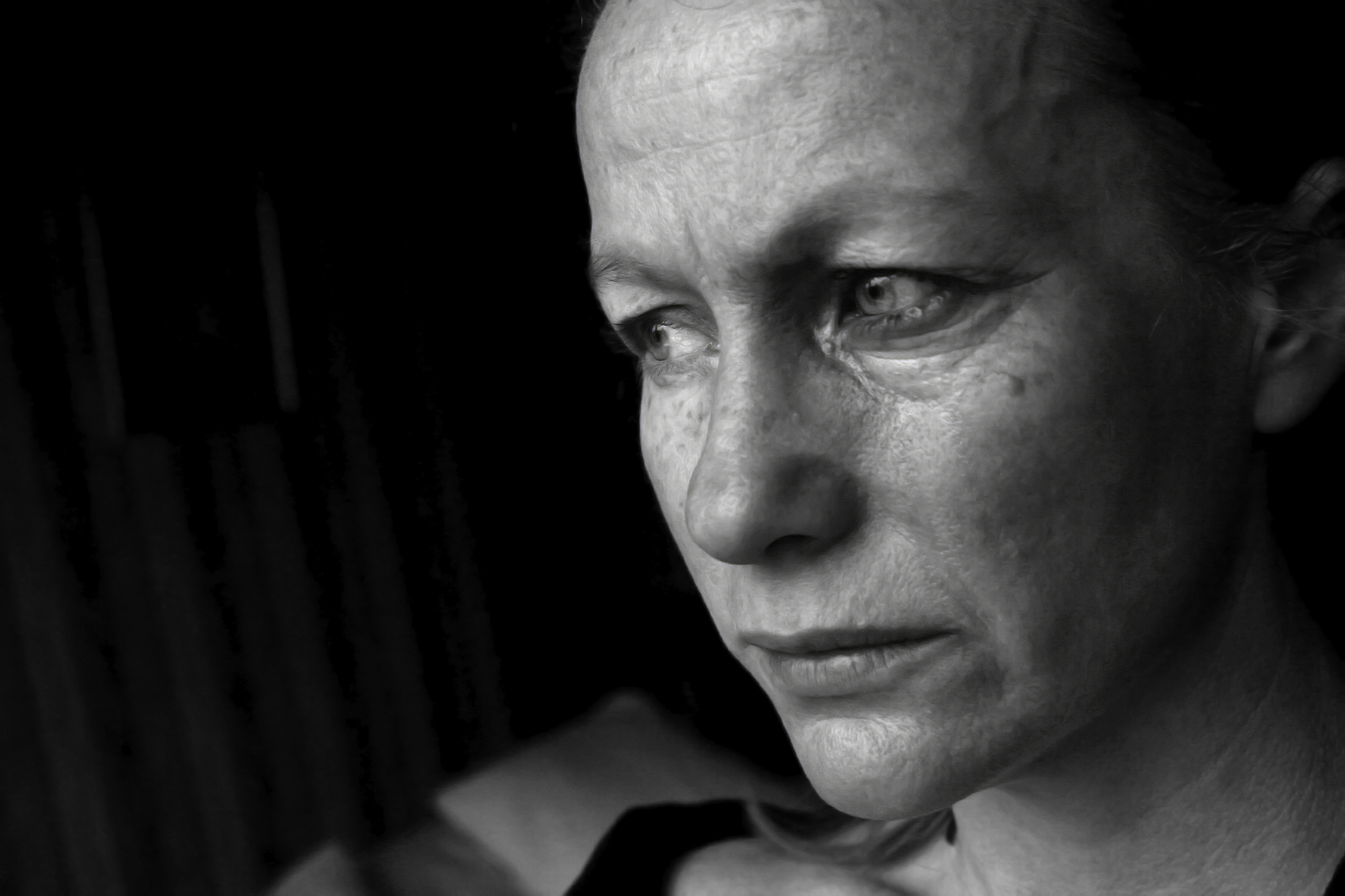 Photo of a woman looking sad.