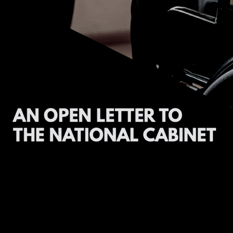 Social media tile with a photo of a person using a wheelchair in the background overlaid with a black banner and white text 'Open Letter to the National Cabinet.'