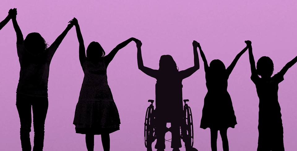silhouettes of 5 young women holding hands.