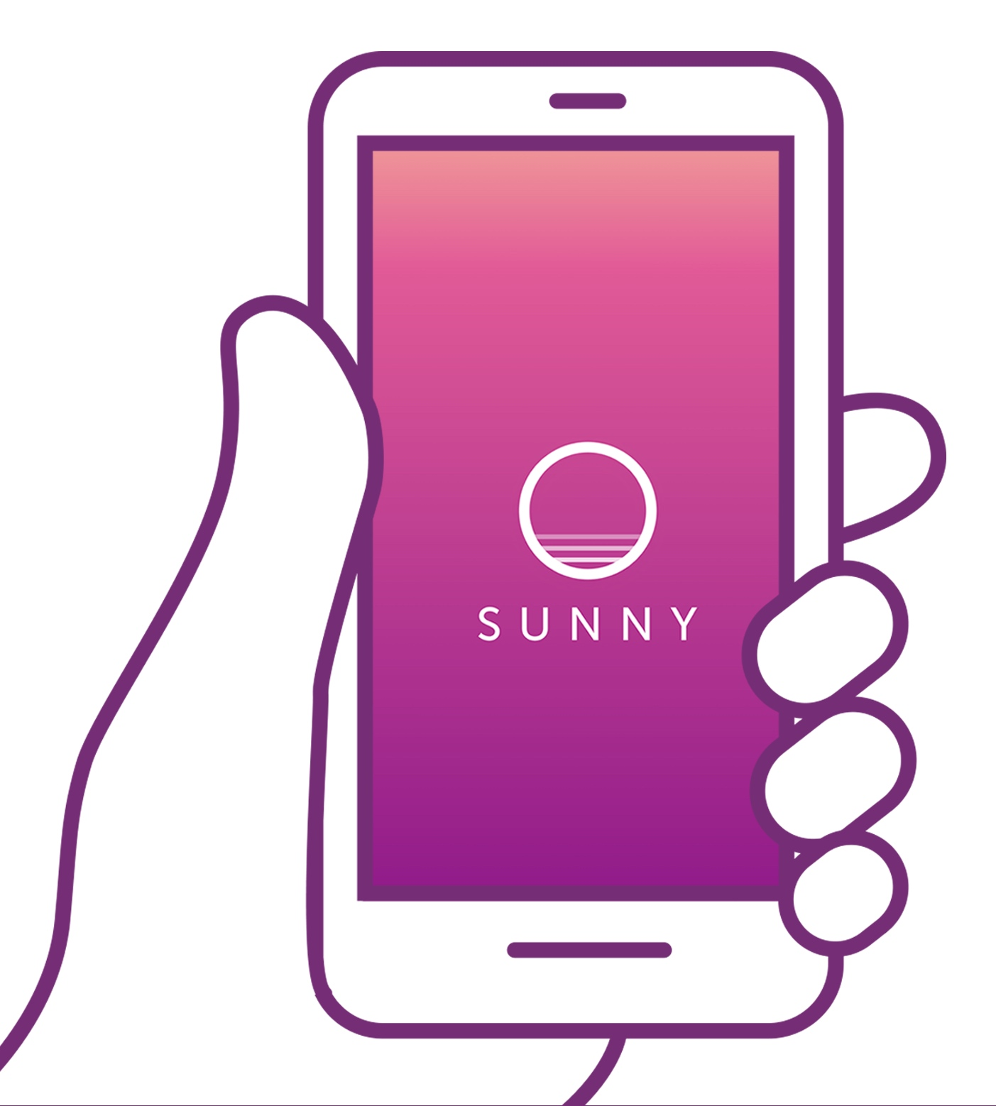 Illustration of a hand holding a smart phone with the sunny app open.