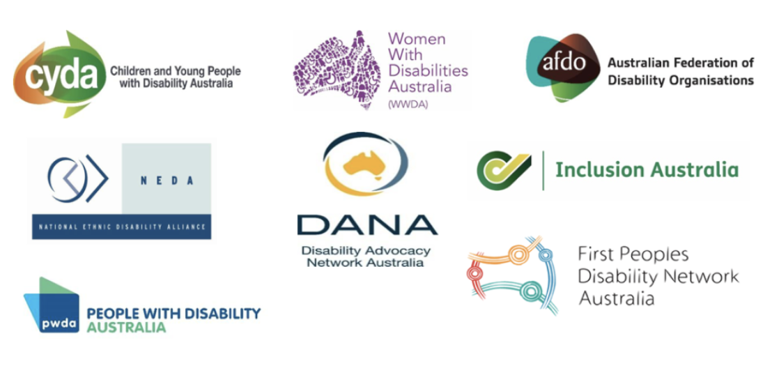 Logos for the Australian Federation of Disability Organisations, Children and Young People with Disability Australia, the Disability Advocacy Network Australia, the First Peoples Disability Network, Inclusion Australia