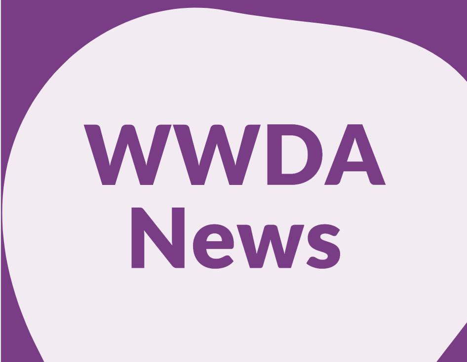 Light purple background with purple heading WWDA News