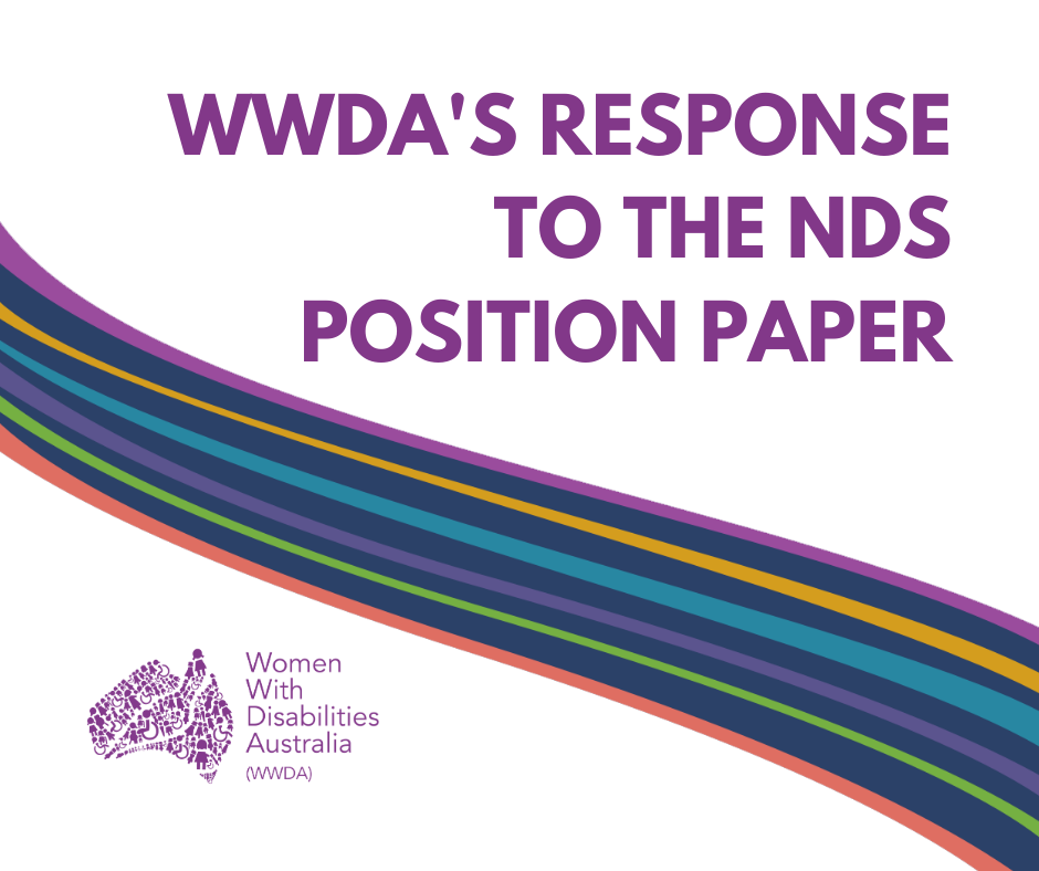"""Purple heading """"WWDA's Response to the NDS Position Paper, a colourful swirl through the middle of the page and the WWDA logo in the bottom left corner."""