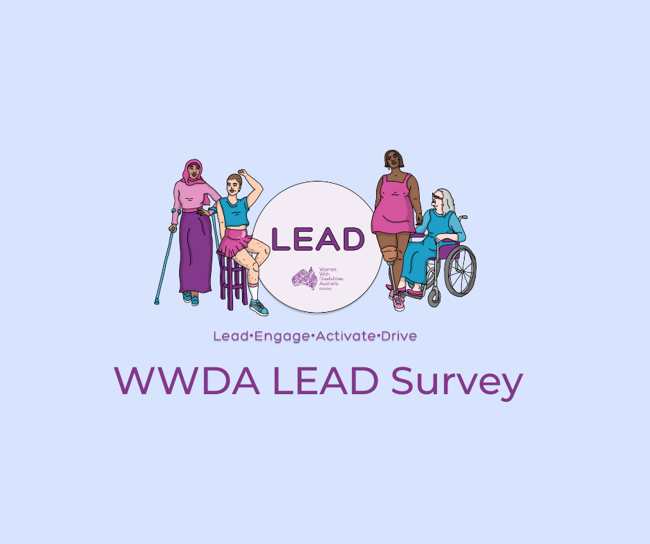 Light blue background, an illustration of 4 women representing diversity and disability. Heading says LEAD, Lead, Engage, Activate, Drive. Underneath as a seperate purple heading that says WWDA LEAD Survey.