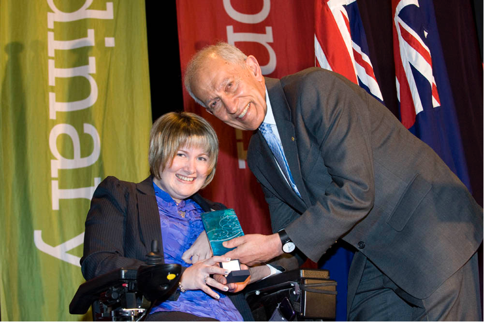 Anj Barker receiving at award for the Victorian Young Australian of the year in 2011.