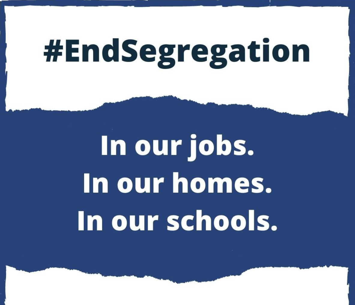 """Text reads: """"#EndSegregation In our jobs. In our homes. In our schools. www.dpoa.org.au/endsegregation"""" Background is blue and white with a torn paper effect."""