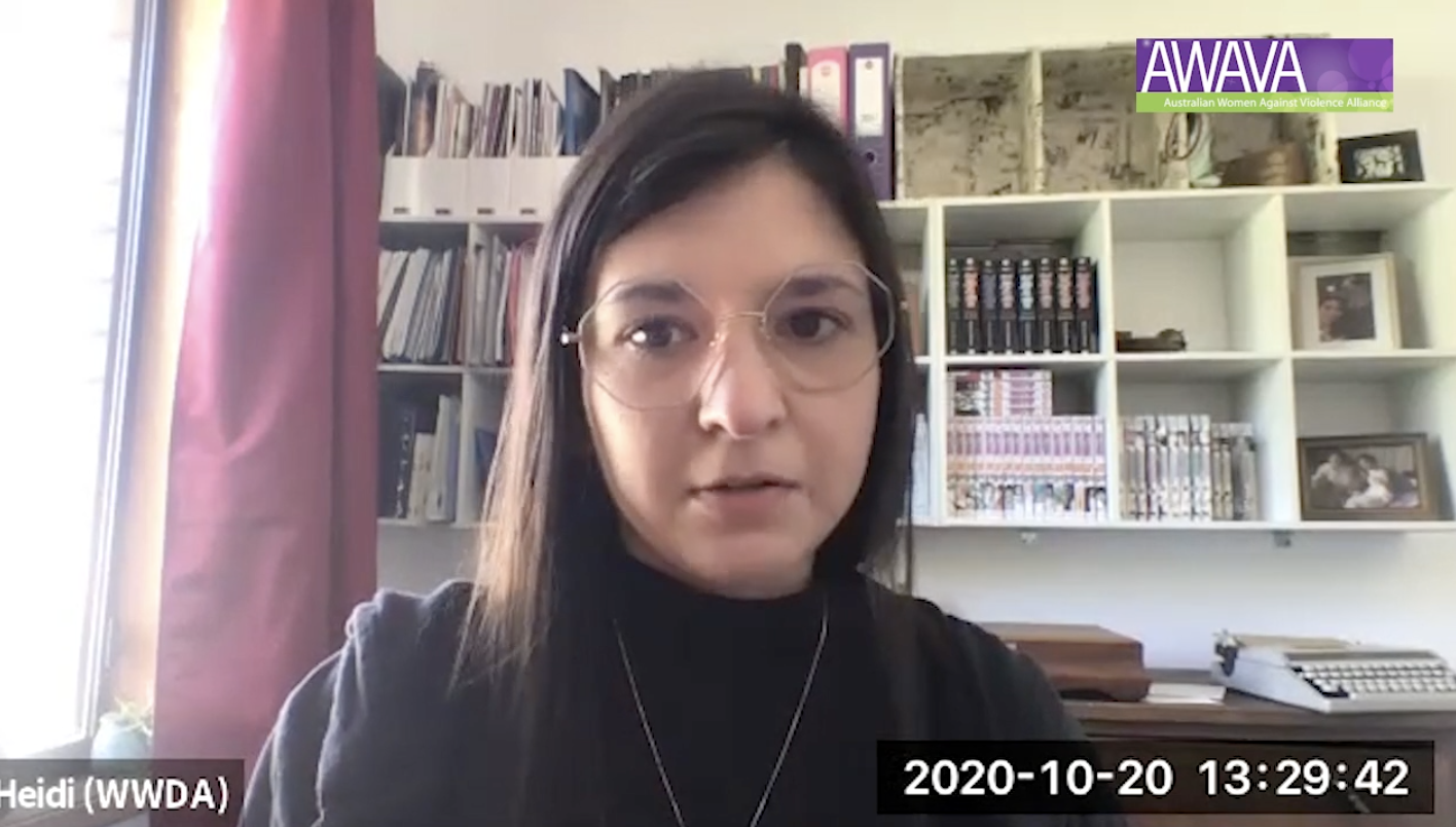 Screenshot of Project and Policy Officer, Heidi, speaking at webinar.