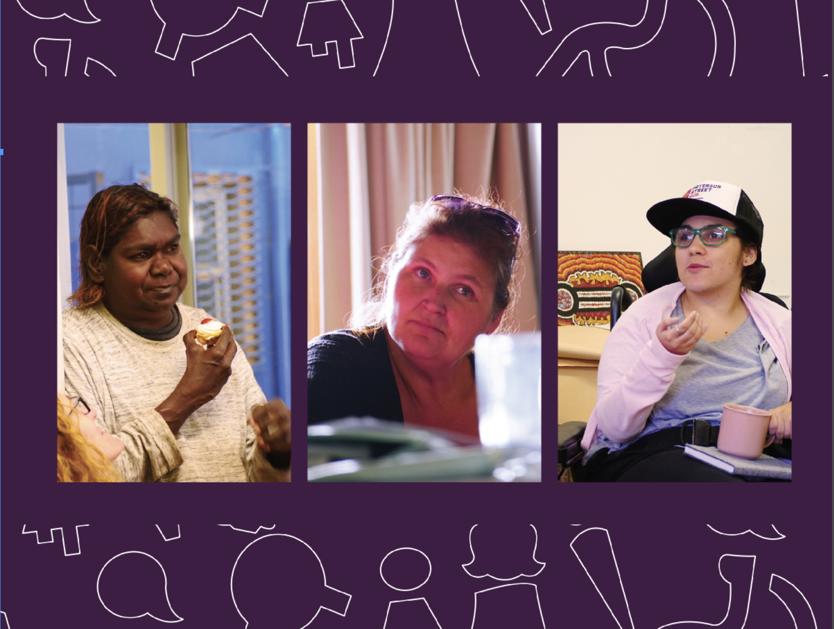 A section of the Annual Report front cover. It includes 3 photos of three different women with disabilities.
