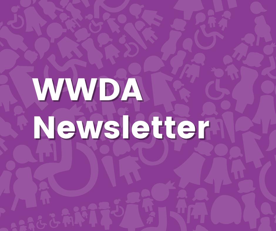 Purple background with white text: WWDA Newsletter