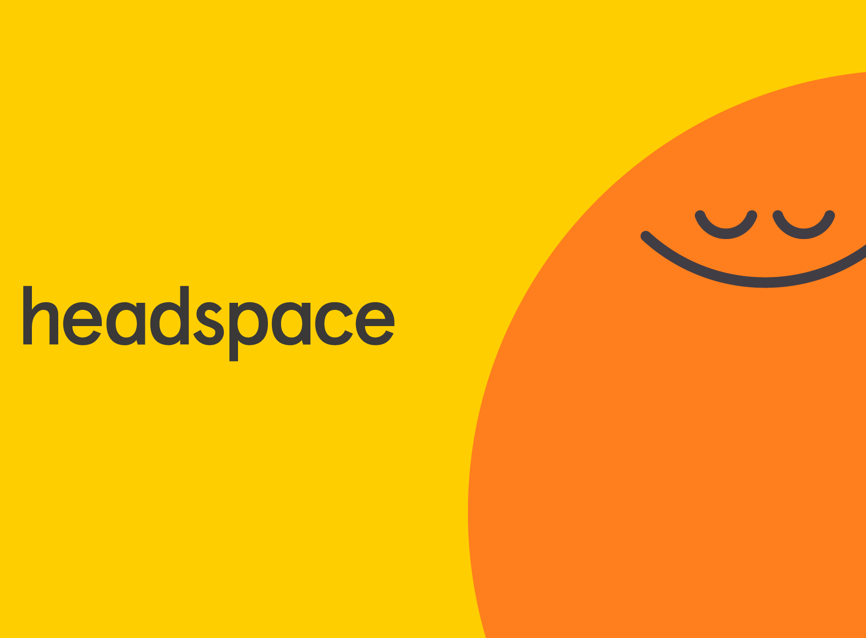 Bright yellow background a big orange emoji looking calm with the word headspace.