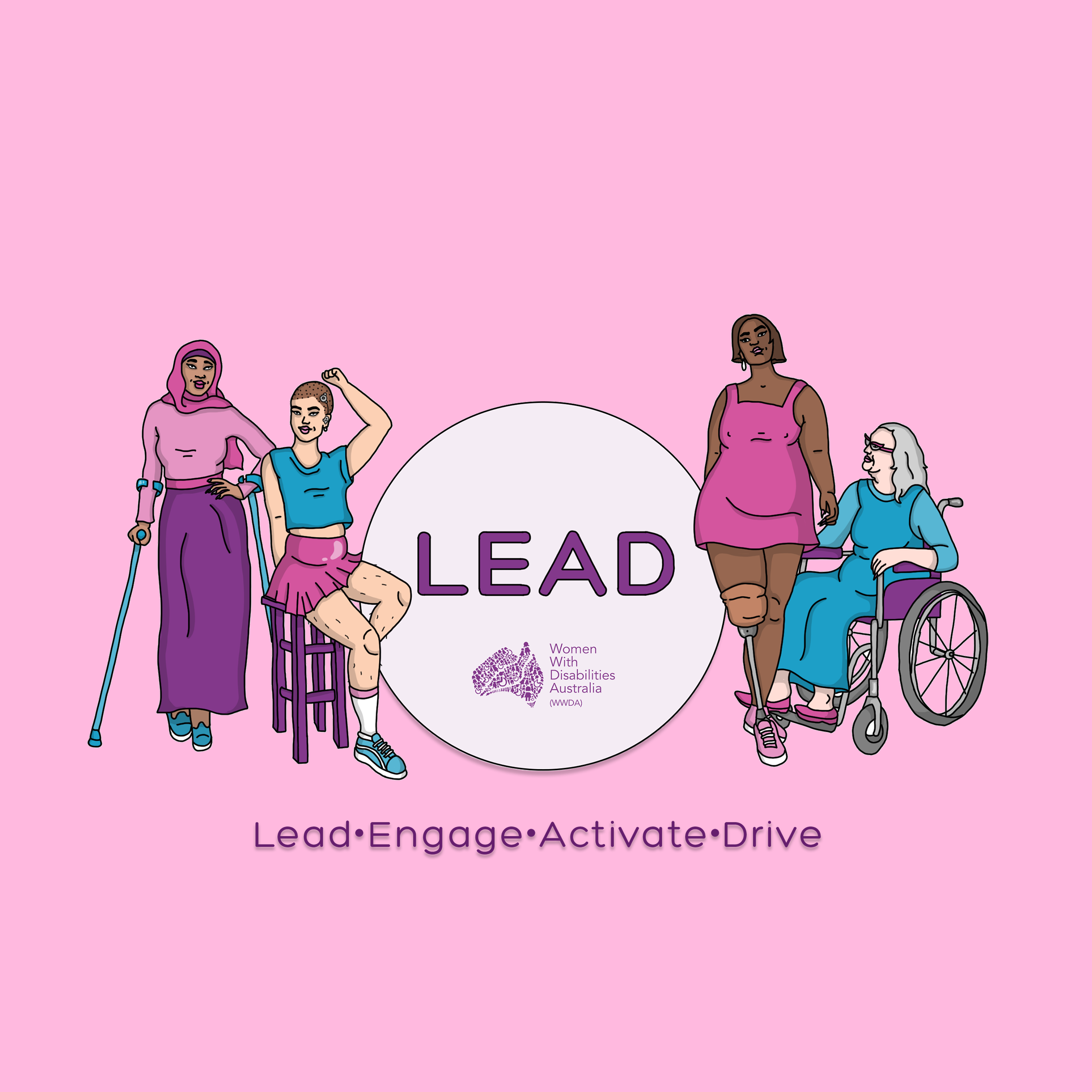 Bright pink background, an illustration of 4 women representing diversity and disability. Heading says LEAD, Lead, Engage, Activate, Drive. Underneath as a seperate purple heading that says WWDA LEAD Survey.