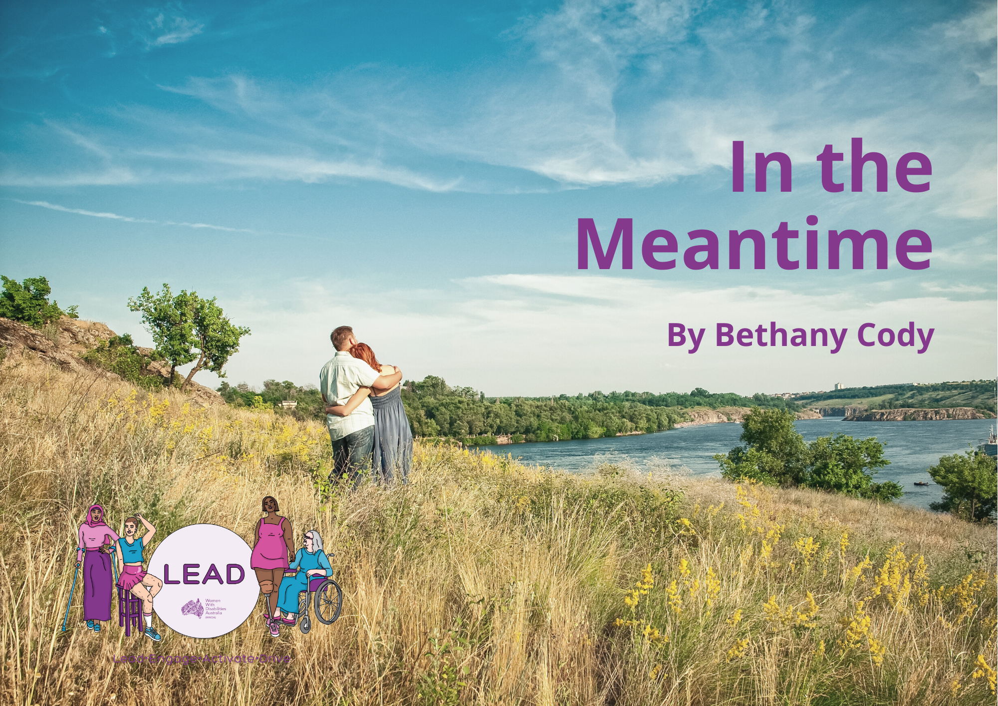 A man and a woman hugging in a field looking over a river. Purple text read In the Meantime by Bethany Cody.
