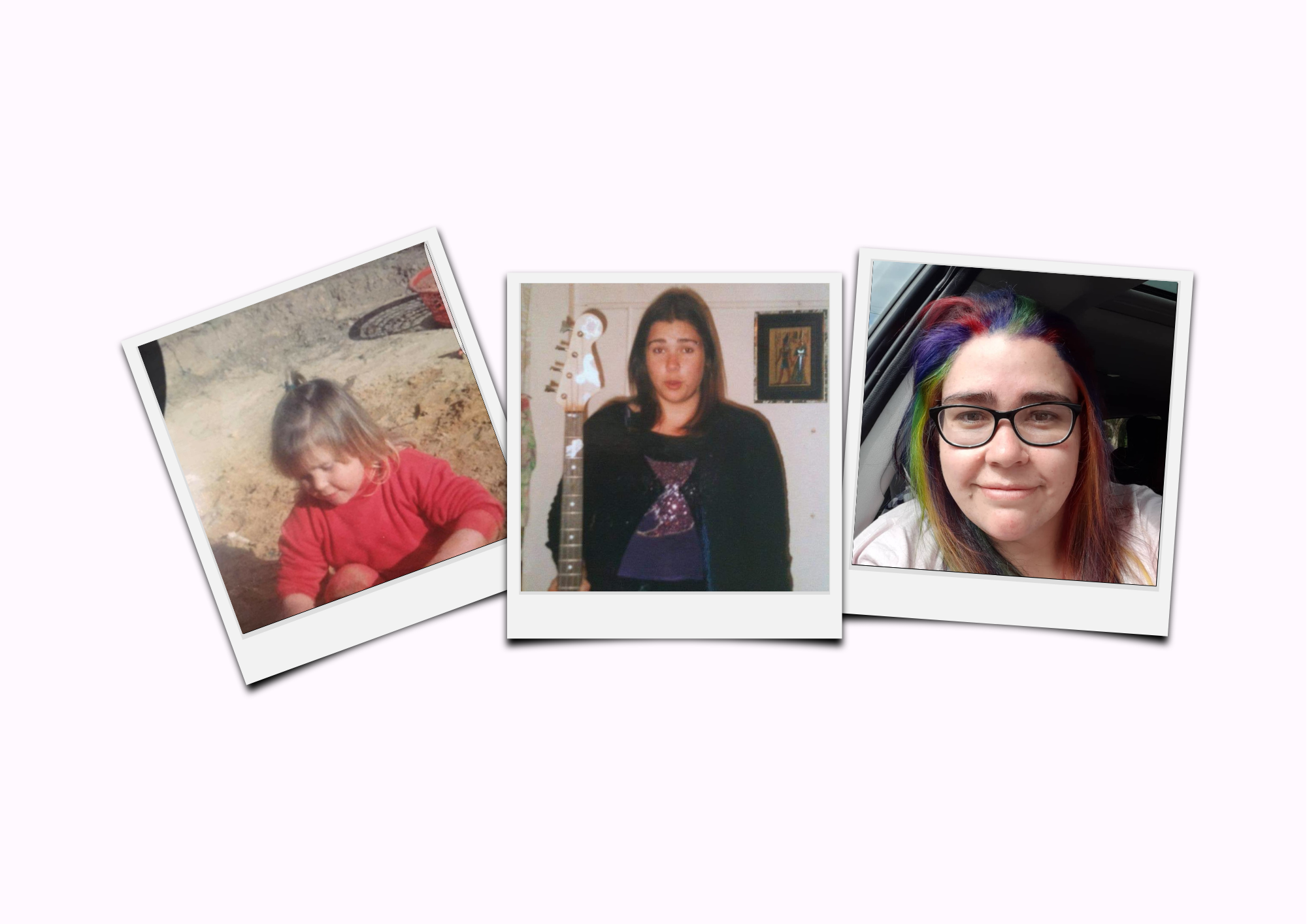 Light purple background with three photos of Renay throughout her life.