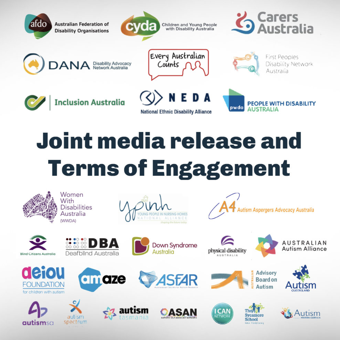 White background with heading text: 'Joint media release and Terms of Engagement' with a number of disabled people's organisations logo's surrounding the text