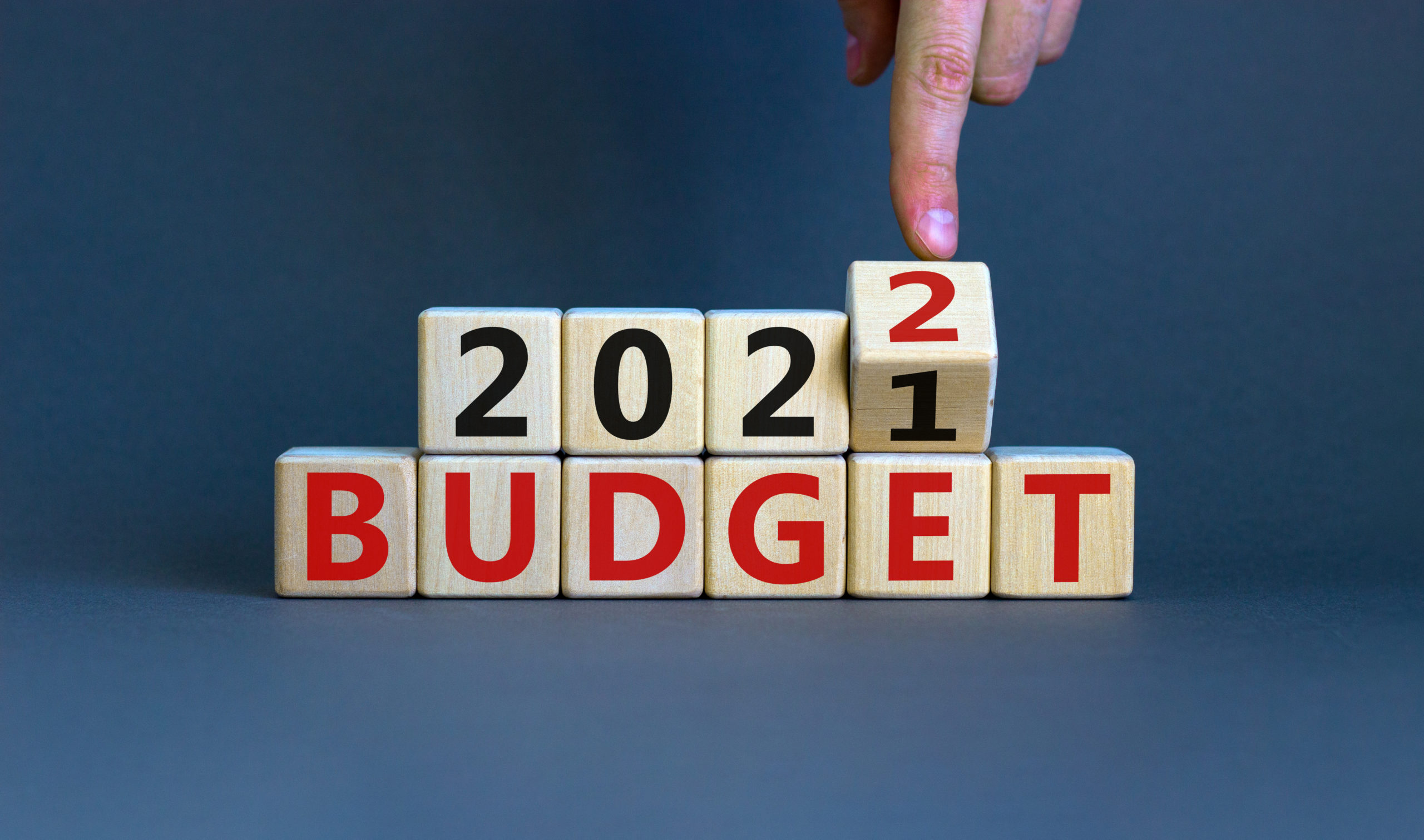 Letter and number blocks reading '2021 Budget'