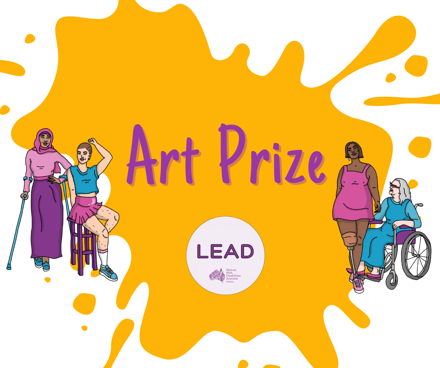 Splatter of orange paint against a white background with WWDA LEAD logo over the top: White background with an illustration of four women representing diversity and disability. In the middle in a purple circle reads LEAD, Lead, Engage, Activate and drive.