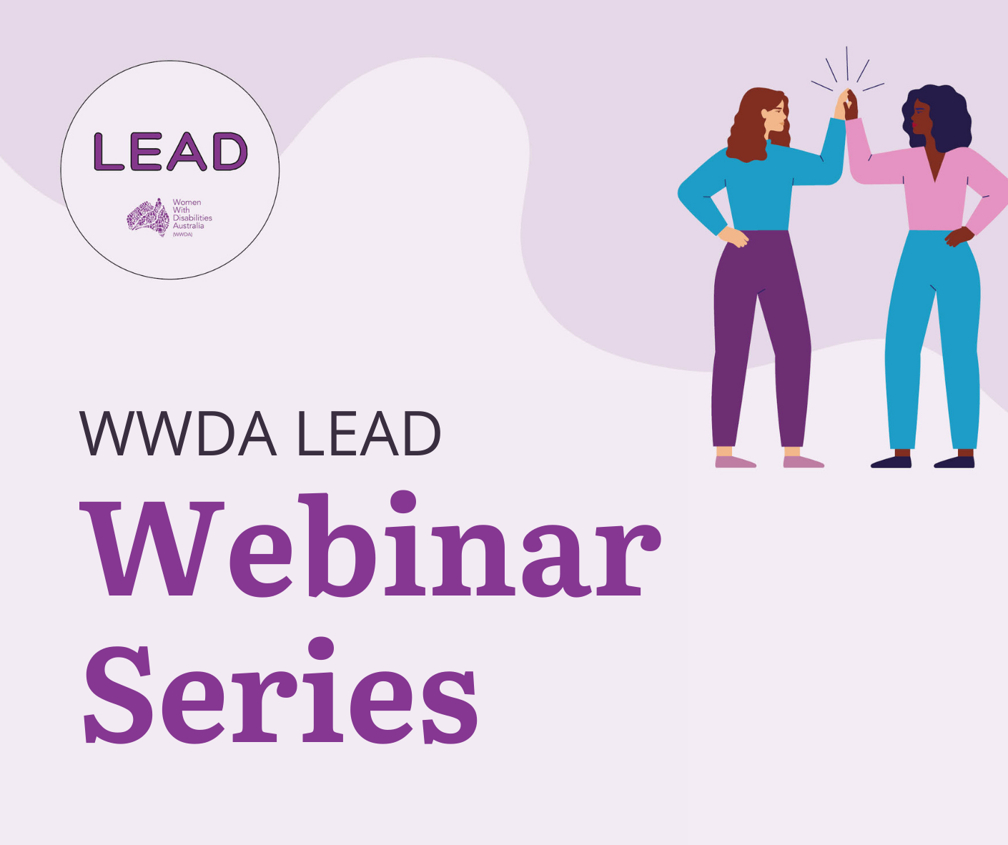 Purple background, text on the image reads: WWDA LEAD Webinar Series, Avenues of Support, Tips and tricks to avoid burnout
