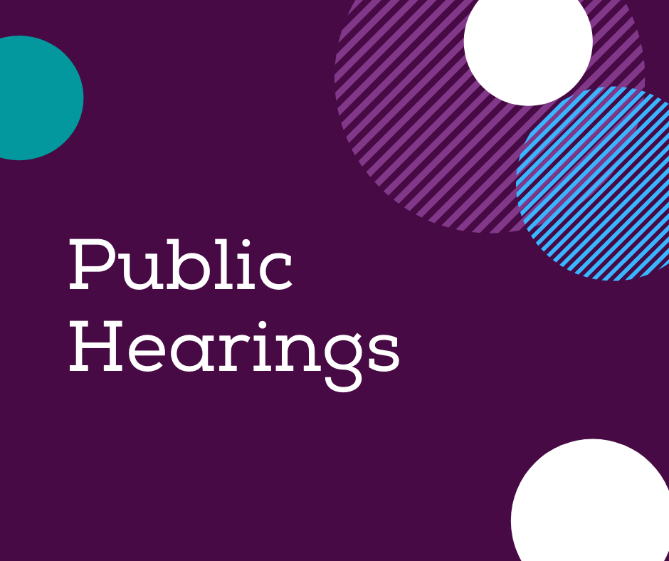 dark purple background with different coloured circles around the outside. White text reads Public Hearings