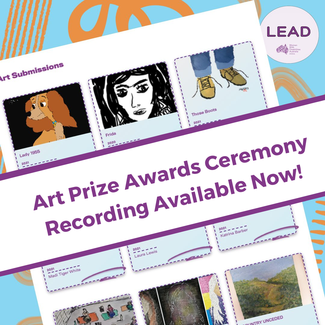 Screenshot from the Art Prize online gallery, showing thumbnails of 6 art works. Behind the screenshot is a blue background with orange swirls and the WWDA LEAD logo in purple. The image is overlaid with purple text on a white banner reading:'Art Prize Awards Ceremony Recording Available Now.'