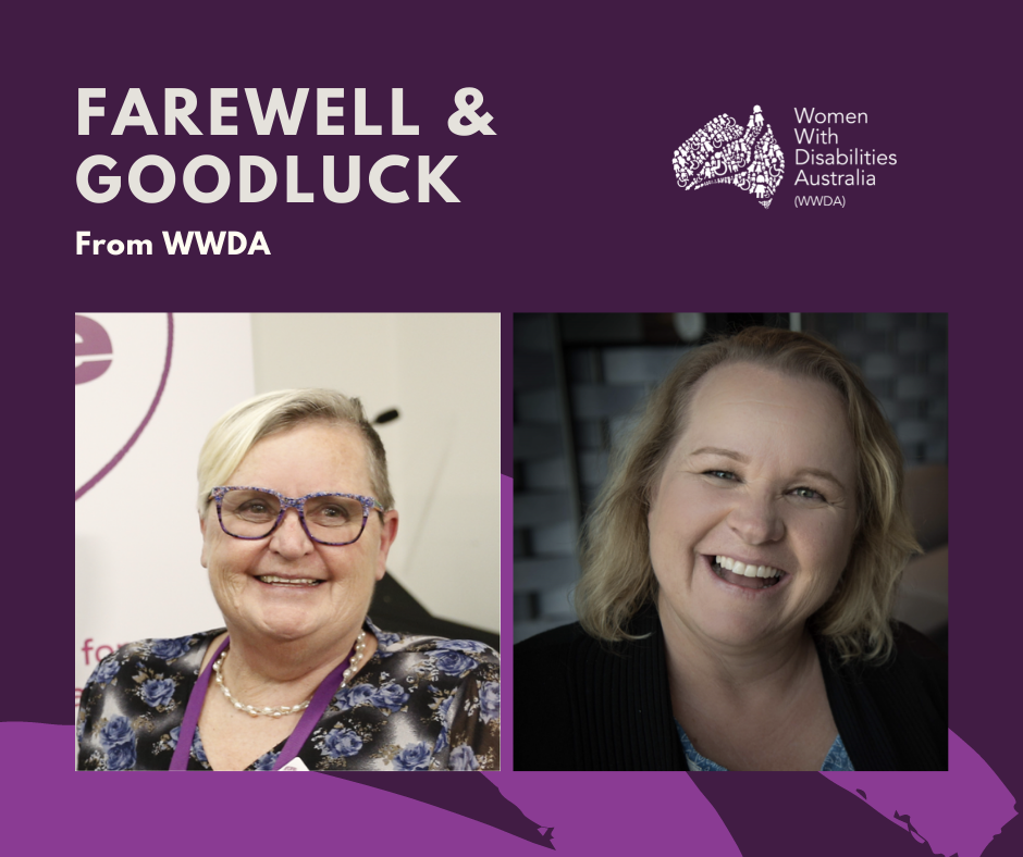 Dark purple background, with white text that reads Farewell and goodluck from WWDA. Two photos inserted. One of Tricia Malowney who had short blonde hair and wear purple glasses. The other photo is of Jody Barney who has shoulder length blonde hair and wearing a black top.