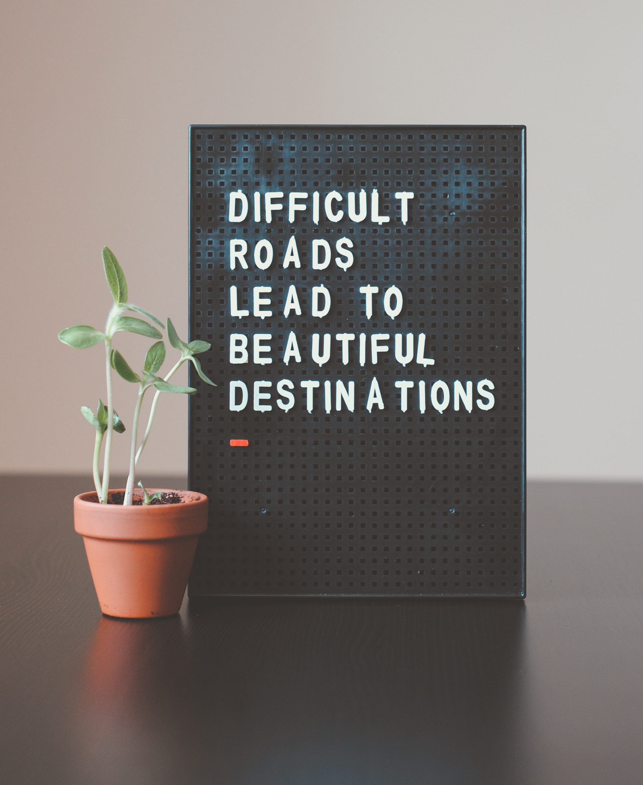 A black letter board stands on a table top, with white letters that read 'Difficult roads lead to beautiful destinations'. A growing plant is next to the letter board.