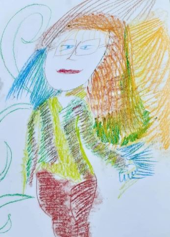 An artistic self-portrait of Angel drawn with pastels. In the portrait Angel is wearing glasses and has long orange, blue and green hair. She is wearing a green cardigan and brown pants.