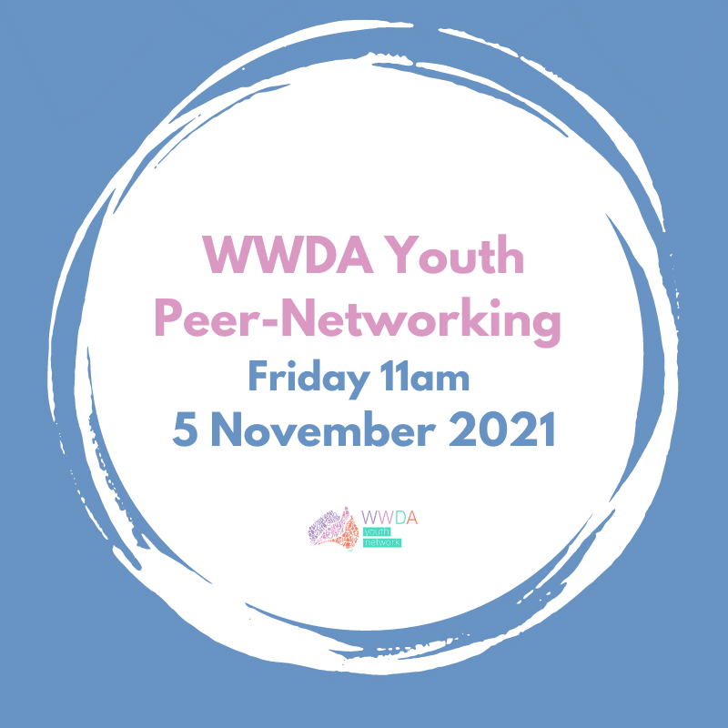 A blue square with a white circle inset with text that reads WWDA Youth Peer-Networking, Friday 11am, 5 November 2021.