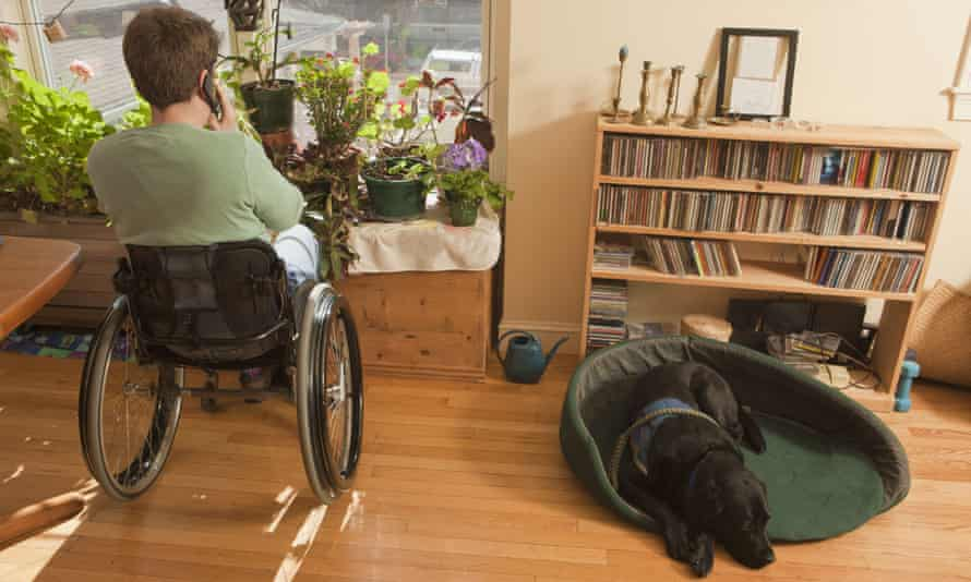 Photo of a woman suing a wheelchair talking on the phone in a house. Next to her is a bookshelf and a Black labrador dog.