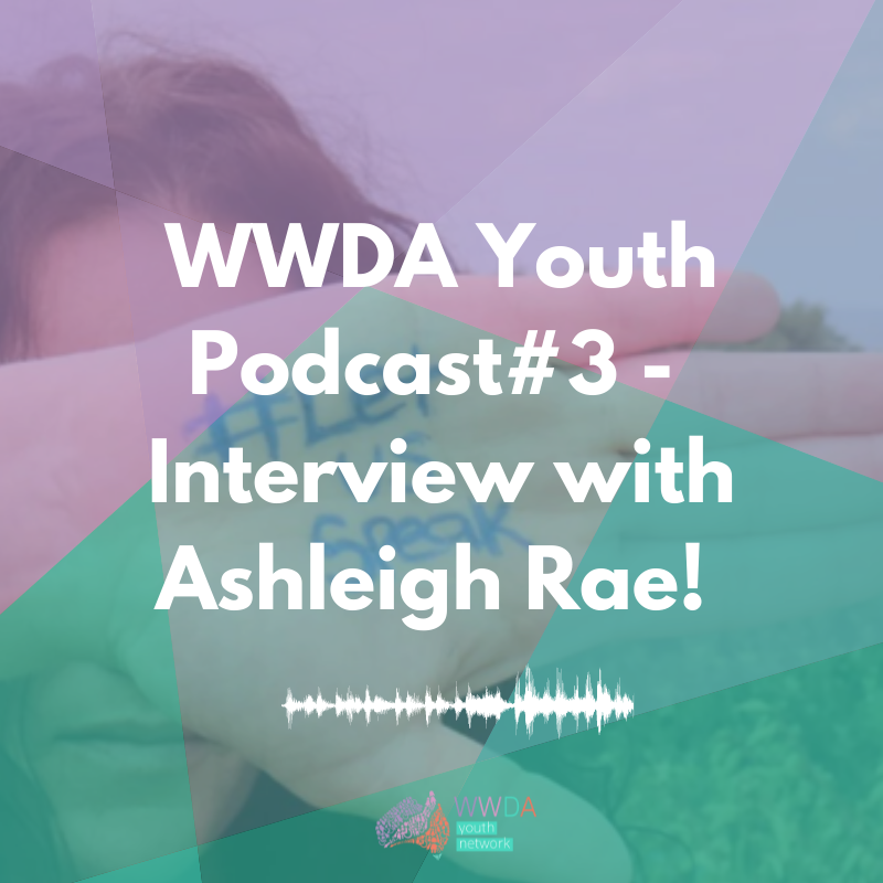 Photo of a young woman putting her hand in front of her face. Her hand has 'LetUsSpeak' written on it. In front of the image are translucent shapes in purple and green and white text: ' WWDA Youth Podcast #3 - Interview with Ashleigh Rae'